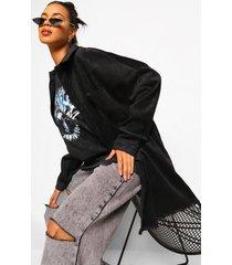 oversized corduroy blouse met gerafelde zoom, black