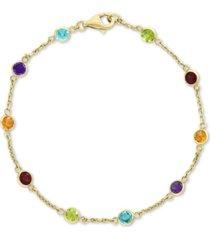 effy multi-gemstone link bracelet (2-1/2 ct. t.w.) in 14k gold