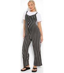 zwangerschap gestreepte culotte jumpsuit, black