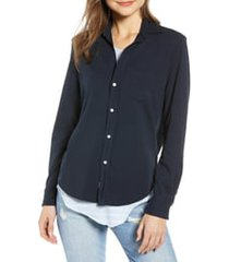 frank & eileen tee lab button front jersey shirt, size large in british royal navy at nordstrom