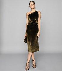 reiss eden velvet - velvet one shoulder dress in khaki, womens, size 12