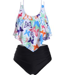 dazzling butterfly strappy flounces plus size tankini swimsuit