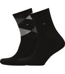 th women check sock 2p lingerie hosiery socks svart tommy hilfiger