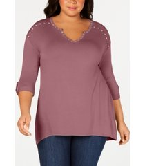 belle by belldini plus size embellished high-low top
