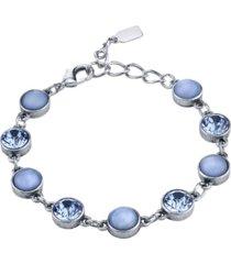 2028 pewter tone lt. blue moonstone and crystal bracelet