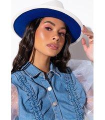 akira white up blue down brim hat