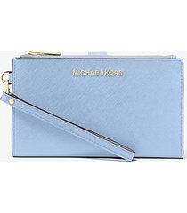 mk portafoglio da polso jetset grande per smartphone - celeste chiaro (blu) - michael kors