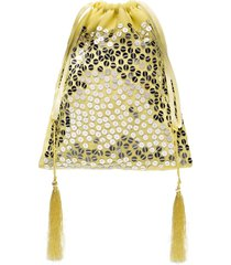 the attico sequin-embellished pouch bag - yellow