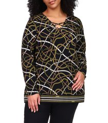 plus size women's michael michael kors lace-up neck chain print jersey tunic, size 3x - black