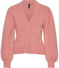 yaspavi ls knit cardigan stickad tröja cardigan rosa yas