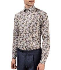 men's eton slim fit paisley dress shirt, size 15.5 - green