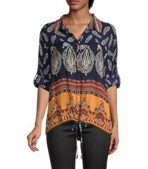 bila women's printed drawstring shirt - navy gold - size l