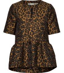 mounaiw top blouses short-sleeved bruin inwear