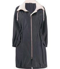 brunello cucinelli drawstring rain coat - grey