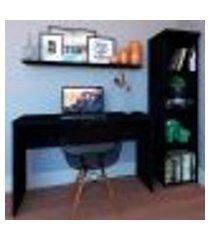 conjunto de mesa com estante e prateleira de escritório corp preto