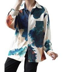 blusa holgada de manga larga estampada con botones de manga larga
