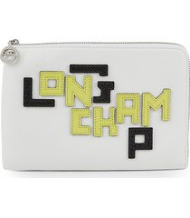 longchamp women's logo lettered leather pouch - white