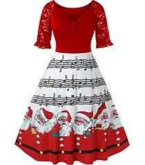 plus size christmas printed a line lace panel dress