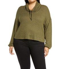 plus size women's bp. hatchi cowl neck pullover, size 2x - green