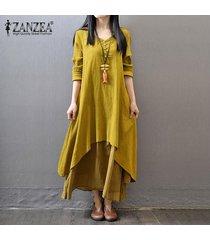 zanzea boho maxi largo del vestido de las mujeres sólido ocasional del algodón del tamaño de lino vestidos plus floja elegante de la manga completa con cuello en v vestido de amarillo -amarillo