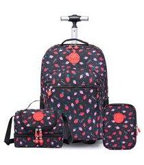 kit mochila de rodinha com lancheira e estojo spector morango infantil escolar 01 preto.