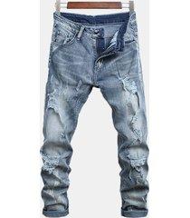 fori elegante diritto lavato jeans per gli uomini