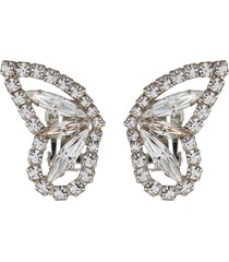 crystal butterfly wing clip earrings