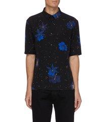 hibiscus print polo shirt