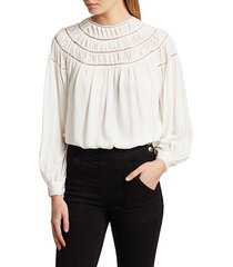 frame women's twisted pleat silk blouse - off white - size xs