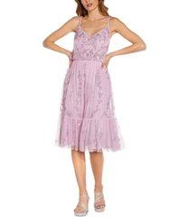 adrianna papell sequin flounce dress