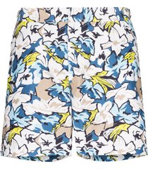orlebar brown short de natação bulldog south beach com estampa floral - branco