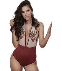 body para mujer - en jaibel licrado y malla tex- vinotinto - lussuria - fresa - ref: 040