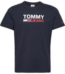 tjm corp logo tee t-shirts short-sleeved blå tommy jeans