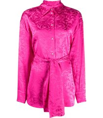 msgm floral-jacquard belted shirt - pink