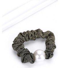 faux pearl elastic knitted metallic hair tie