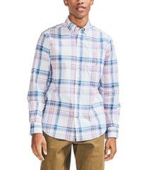 nautica men's classic fit button-down plaid shirt