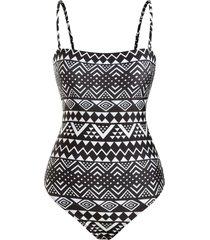 ethnic geo zig zag print cami one-piece swimsuit