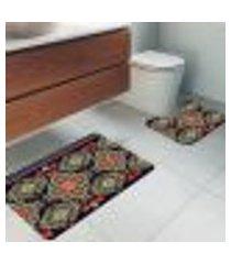 jogo tapetes para banheiro 2 peças persa único