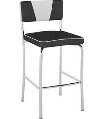 banqueta média retrô pb18 assento preto encosto branco - pozza