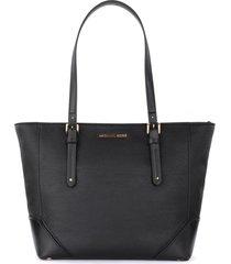 black leather michael kors aria large shoulder bag