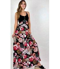 maxi vestido floral negro enigmática boutique