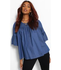 maternity chambray smock top, mid blue