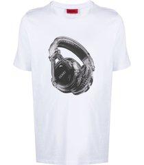 boss hugo boss headphones-print t-shirt - white