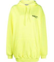 balenciaga logo print cotton hoodie