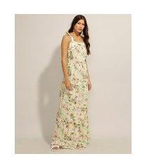 vestido de viscose estampado praia com recortes longo alça laço verde claro