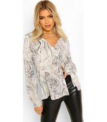 tall marmerprint blouse, white