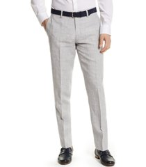 bar iii men's slim-fit gray plaid linen suit separate pants, created for macy's