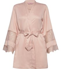 kimono satin insert lace bow morgonrock rosa hunkemöller