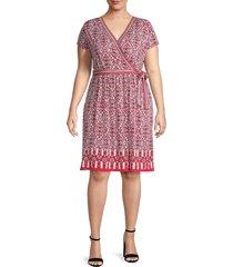 max studio women's faux wrap short-sleeve dress - red multi - size 1x (14-16)