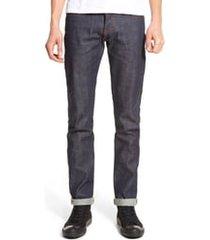 men's naked & famous denim super skinny guy skinny fit selvedge jeans, size 32 - blue